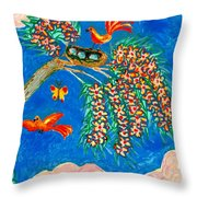 Birds And Nest In Flowering Tree Throw Pillow