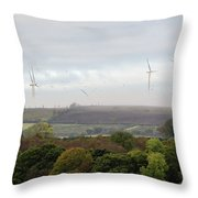 Birds And Wind Turbines  Throw Pillow