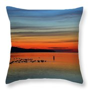 Birds At Dawn By The Buoy  Throw Pillow