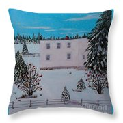 Birds Berries And November Snow Throw Pillow