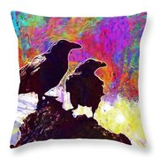 Birds Crow Black  Throw Pillow