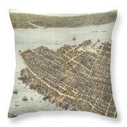 Birds Eye View Of Charleston 1872 Throw Pillow