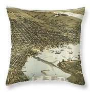 Birds Eye View Of Jacksonville Florida 1893 Throw Pillow