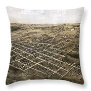 Birds Eye View Of The City Of Coldwater, Michigan - 1868 Throw Pillow