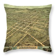 Bird's Eye View Of The City Of Huntsville, Madison County, Alabama 1871 Throw Pillow