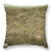 Bird's Eye View Of The City Of Raleigh, North Carolina 1872 Throw Pillow
