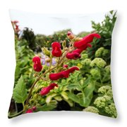 Birds In A Tree Flowers Throw Pillow