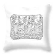 Birds In Flower Garden Coloring Page Throw Pillow