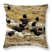 Birds In The Mud Throw Pillow