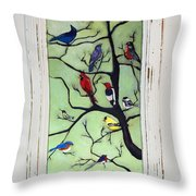 Birds In The Tree Framed Throw Pillow