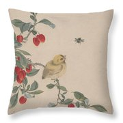 Birds Insects And Flowers Throw Pillow