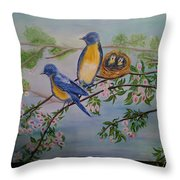 Birds Nest Family Throw Pillow