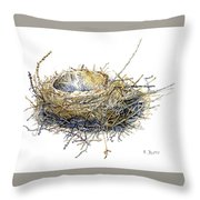 Bird's Nest Watercolor Painting Throw Pillow