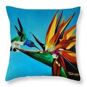 Birds Of Paradise With White Necked Jacobin Hummingbird Throw Pillow