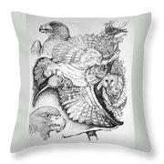 Birds Of Prey Collage One Throw Pillow