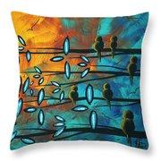 Birds Of Summer By Madart Throw Pillow