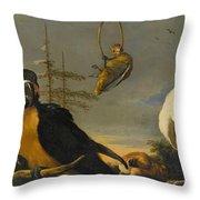 Birds On A Balustrade, Melchior D'hondecoeter, C. 1680 - C. 1690 Throw Pillow