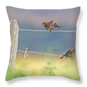 Birds On A Barbed Wire Fence Throw Pillow
