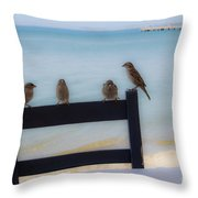 Birds On A Chair Throw Pillow
