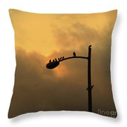 Birds On A Post Amber Light Square Throw Pillow
