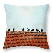 Birds On A Rooftop Throw Pillow