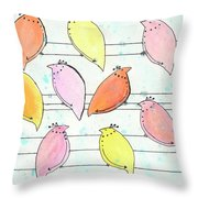 Quail On A Wire Throw Pillow