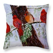 Birds On Branch In Snow Throw Pillow