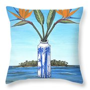 Birds Over Paradise Flowers Throw Pillow