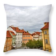 Birds Over Prague Throw Pillow