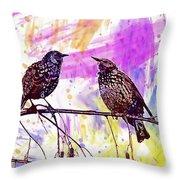 Birds Stare Nature Songbird  Throw Pillow