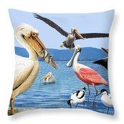 Birds With Strange Beaks Throw Pillow