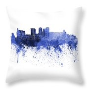 Birmingham Al Skyline In Blue Watercolor On White Background Throw Pillow