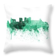 Birmingham Al Skyline In Green Watercolor On White Background Throw Pillow