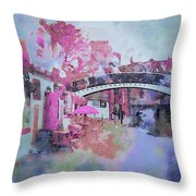 Birmingham Canal Watercolor Throw Pillow