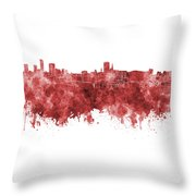 Birmingham Skyline In Red Watercolor On White Background Throw Pillow