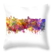 Birmingham Skyline In Watercolor On White Background Throw Pillow