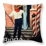 Birra San Marco, Venezia, Italy - Woman With Beer Glass - Retro Travel Poster - Vintage Poster Throw Pillow