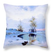 Birth Of Spring In The Snow Throw Pillow