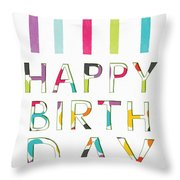 Birthday Candles- Art By Linda Woods Throw Pillow
