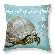 Birthday Card - Painted Turtle Throw Pillow