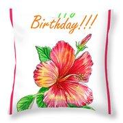 Birthday Hibiscus Throw Pillow