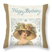 Birthday Lady Throw Pillow