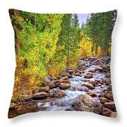 Bishop Creek In Autumn Throw Pillow