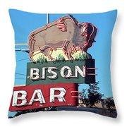 Miles City Montana - Bison Bar Throw Pillow
