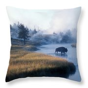 Bison Crosses The Firehole River Throw Pillow