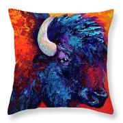 Bison Head Color Study II Throw Pillow