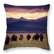 Bison Herd Into The Sunset Throw Pillow