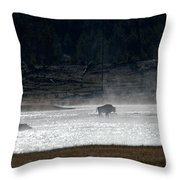 Bison In The River Throw Pillow