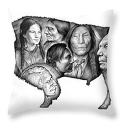 Bison Indian Montage Throw Pillow
