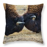 Bison Push And Shove Throw Pillow
